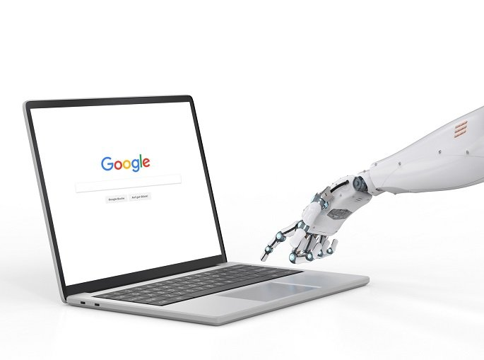 3d rendering robot hand working with computer keyboard